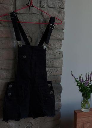 Комбінезон чорний черный комбенизон шорты джинсовые