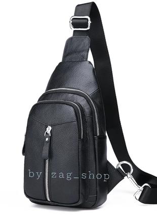 New☝️мужской кожаный кросс боди сумка слинг нагрудная сумка чёрная кожа бананка сумка через плечо чоловіча сумка leather