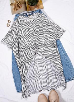 Ассиметричная футболка женская, летняя большая футболка длинная, футболка оверсайз