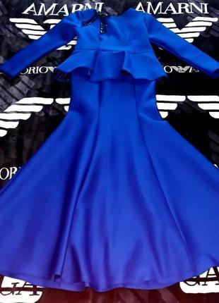 Платье новый год синее хэллоуин костюм ведьма снежная королева хеллоуин