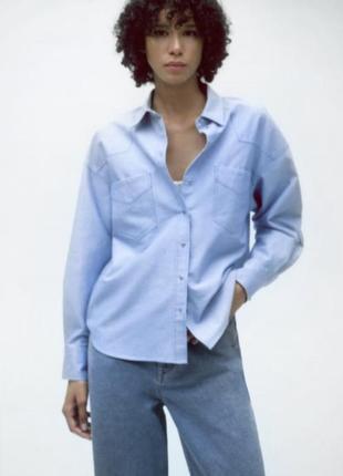 Голубая хлопковая рубашка в стиле оксфорд зара zara