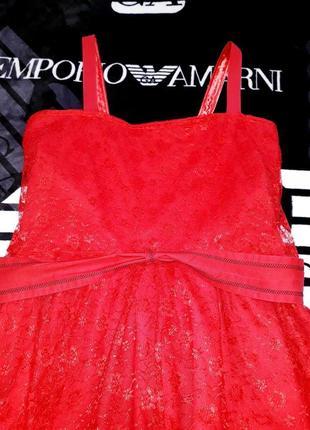 Красное платье сарафан нарядное пышное стиль 80
