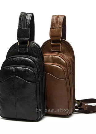 Top💣мужской кожаный кроссбоди сумка слинг через плечо нагрудная сумка чёрная leather чоловіча сумка барсетка бананка чорна