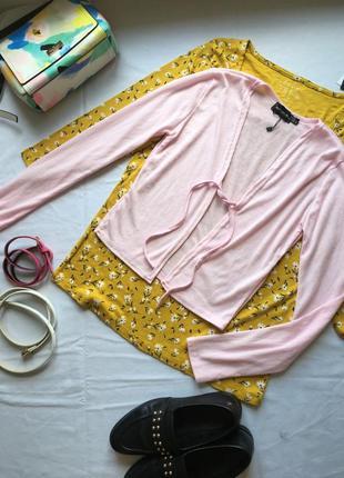 Легка кофта светрик накидка в рубчик лёгкая розовая накидка