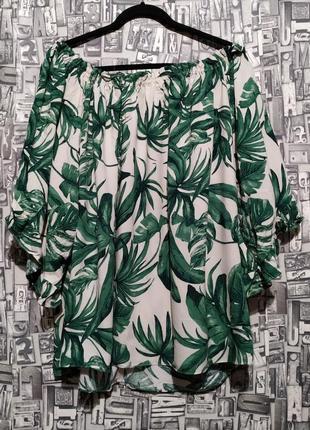 Натуральная блуза с опущенными плечами от h&m.