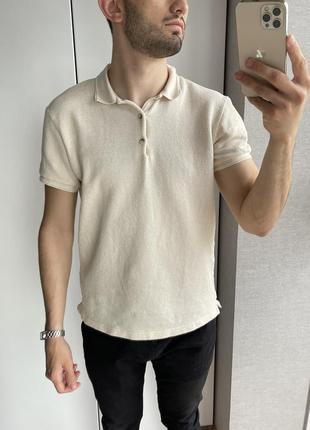 Мужская светлая бежевая кежуал футболка поло zara новая коллекция