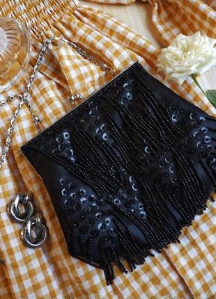 Клатч бисер черный цепочка мини паетки