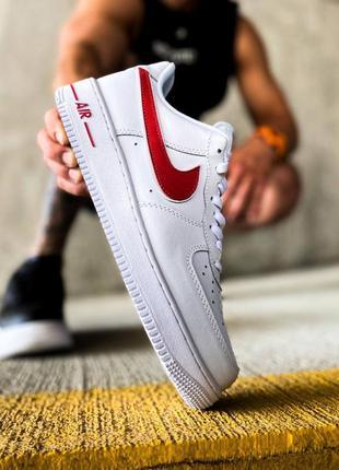 "Nike air force 1 low ""white/red""  кроссовки найк аир форс"