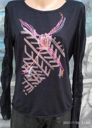 Базовая блуза,рукав сетка ,принт