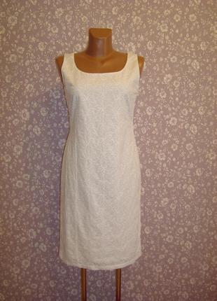 Платье футляр летнее, хлопковое, вышивка\прошва размер 8-10