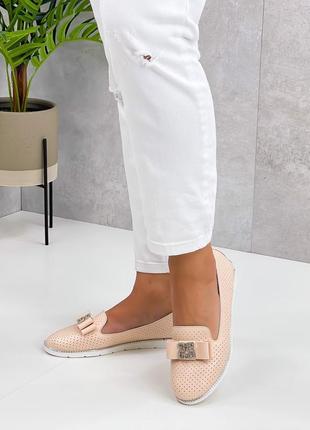Рр 36-41.туфли мокасины пудра нежно розовый из натуральной кожи