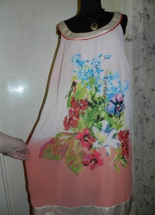 Чудесное,лёгкое платье в цветочный принт и птичку,с жемчугом и пайетками