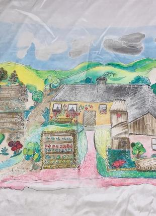 Винтажный большой шёлковый платок / картина ручная роспись шов роуль