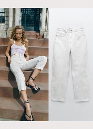 Светлые джинсы zara в легкий принт тай дай