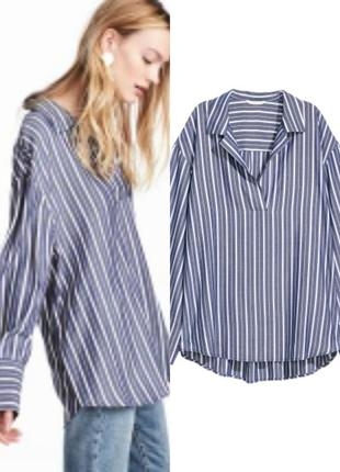 Рубашка блуза оверсайз в полоску с широкими рукавами манжетами h&м