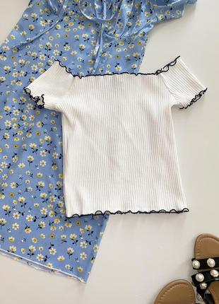 Белая футболка-топ zara с открытыми плечами