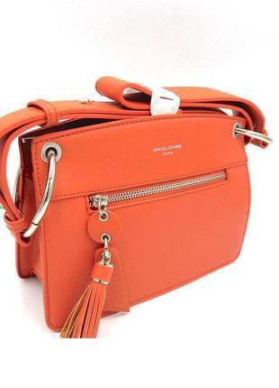 Женская сумка клатч david jones кроссбоди через плечо cm5712 5712 коралловый оранжевый