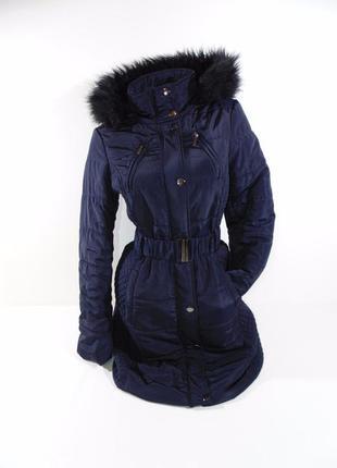 Удлиненная женская курточка f&f, темносиняя, 10/38 размер