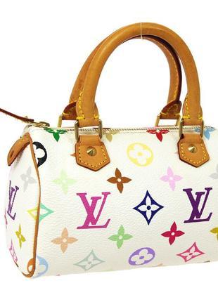 Сумка клатч бочонок кожа vuitton mini speedy 2way hand bag purse white monogram multi