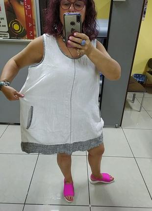 Шикарное платье большого размера.лен.1 фото