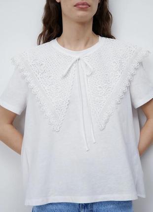 Оверсайз футболка кружевной воротник размер с zara  оригинал новая коллекция 2021