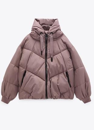 Новый розовый сиреневый пуховик зара zara  куртка курточка новая зимняя