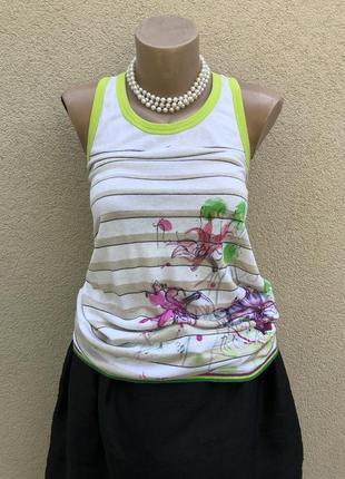 Трикотаж майка,блуза,футболка,топ,хлопок-лён,премиум бренд,