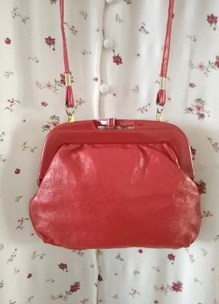 Кожаная винтажная сумка клатч косметичка с пластиковой застежкой!!! винтаж!