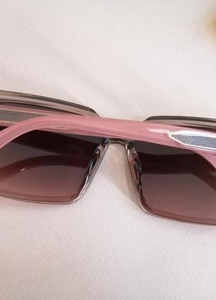 Эксклюзивные брендовые розовые солнцезащитные квадратные женские очки 20214 фото