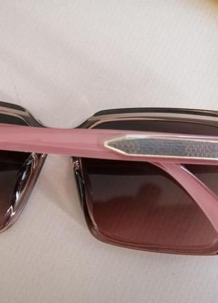 Эксклюзивные брендовые розовые солнцезащитные квадратные женские очки 20216 фото