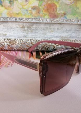 Эксклюзивные брендовые розовые солнцезащитные квадратные женские очки 20212 фото