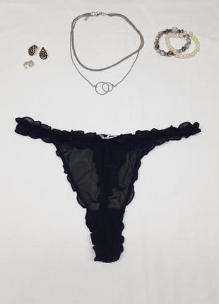 Чёрные чорні кружевные сексуальные секси винтажные трусы трусики на высокой средней посадке стринги с рюшами бантиком однотонные винтажные в сеточку