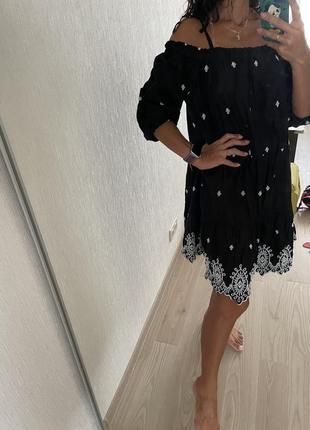 Платье с вышивкой прошва оверсайз миди