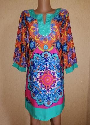 Красивое, яркое, легкое женское короткое платье, туника 16 р. papaya