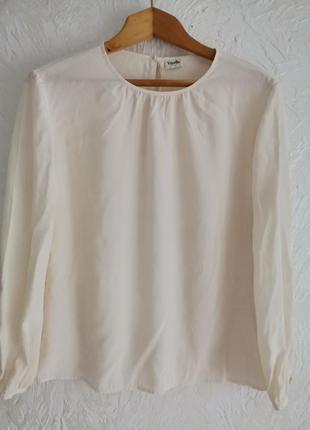 Батальная шёлковая кремовая блуза от  viyella. 100% шелк