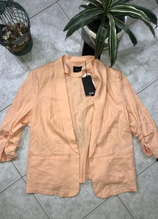 Модный персиковый лляной блейзер/ пиджак