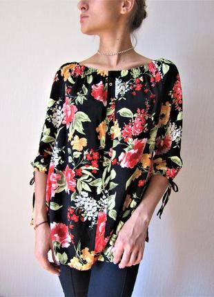 Цветочная блуза с объемными рукавами на плечики geоrge размер 12/40/м