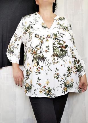 Шелковая блузка в растительный принт, 100% вискоза