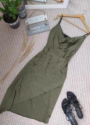 Чудесное атласное асимметричное платье на бретелях new look