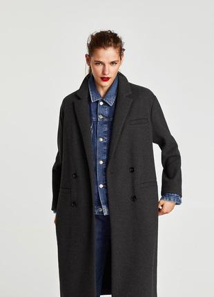 Серое длинное пальто zara