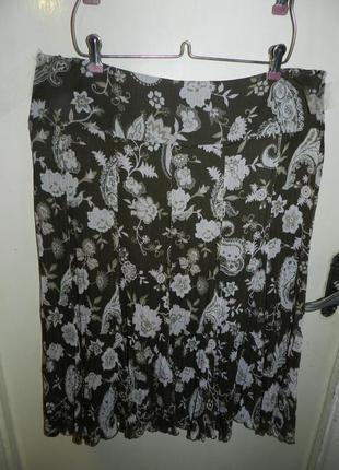 Легчайшая,красивая юбка-12-клинка,плиссе,в цветочный принт,хаки,большого размера,basler