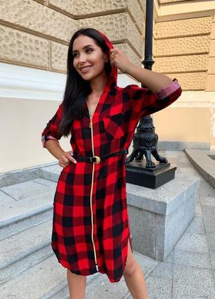 Платье женское летнее демисезон до колена рубашка с капюшоном в клеточку