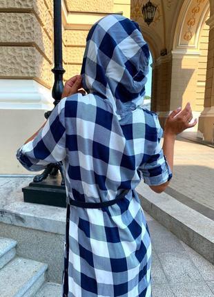 Платье женское летнее демисезон до колена рубашка с капюшоном в клеточку8 фото