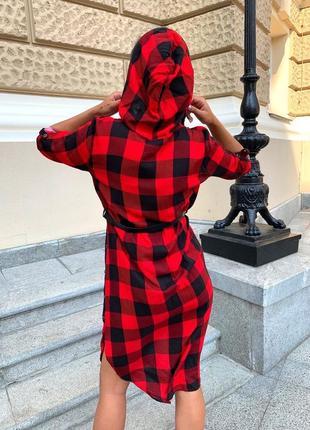 Платье женское летнее демисезон до колена рубашка с капюшоном в клеточку5 фото