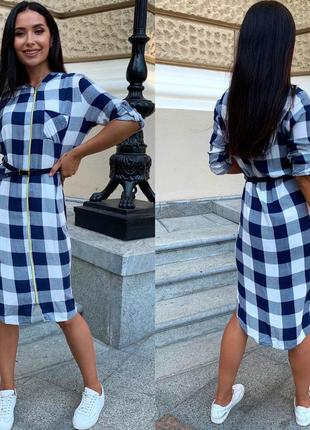 Платье женское летнее демисезон до колена рубашка с капюшоном в клеточку9 фото