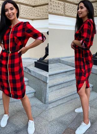 Платье женское летнее демисезон до колена рубашка с капюшоном в клеточку6 фото
