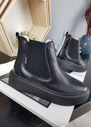 Черные полусапожки женские/подростковые кожаные демисезонные на танкетке/платформе осенние)весенние