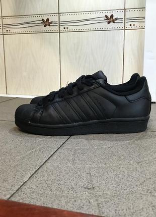 Чорні шкіряні кросівки adidas superstar кроссовки кожаные