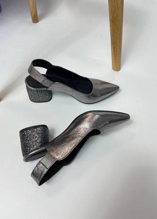 Эксклюзивные туфли из натуральной итальянской кожи серебро