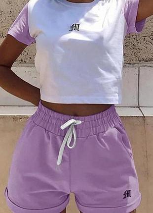 Женский летний спортивный прогулочный костюм, костюм для спорта с шортами и топом белый-мята, белый-лаванда